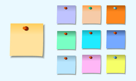yellow notepad: colored set of sticky notes memo. vector illustration eps