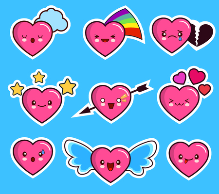 funny heart emoticon icon set valentine s day. kawaii. Flat design Vector Illustration Ilustração