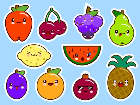 pears: set of fruits smiley face kawaii. Flat design Vector Illustration