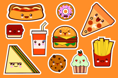 junkfood: Fastfood fashion, cartoon kawaii stickers illustrations icon set. gamburger, pizza, sandwich, cake. Flat design Vector Illustration