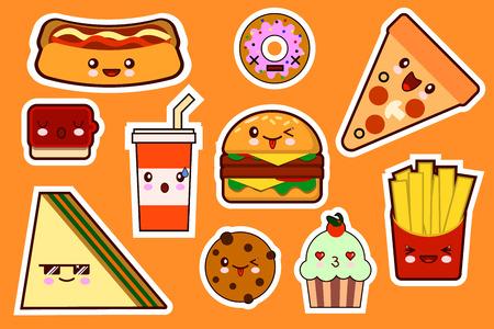 Fastfood fashion, cartoon kawaii stickers illustrations icon set. gamburger, pizza, sandwich, cake. Flat design Vector Illustration