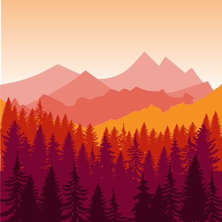 山と夕日に早くフォレスト シルエット風景のパノラマ。ベクトル図をフラット デザインします。  イラスト・ベクター素材