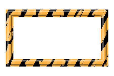 hazard stripes: Construction warning border frame on white background, vector illustration Illustration