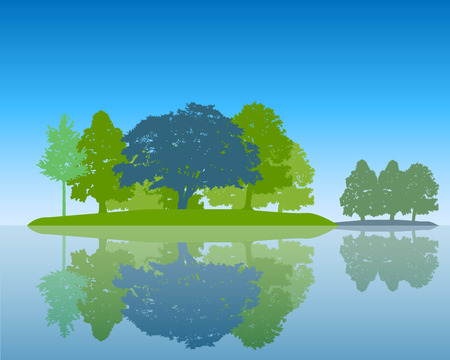 Trees Silhouette with Reflection in Water Flat design Vector Illustration