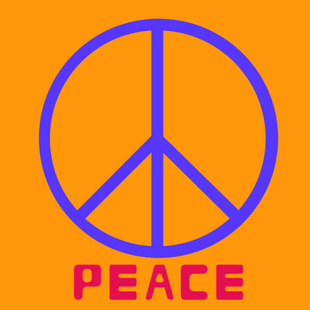 peace symbol icon vector friendship pacifism on orange background Flat design Vector Illustration Illustration