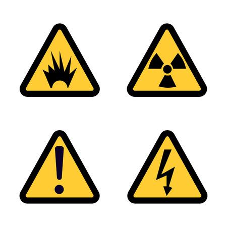 radioactive sign: Hazard warning sign icon set on white background Flat design Vector Illustration