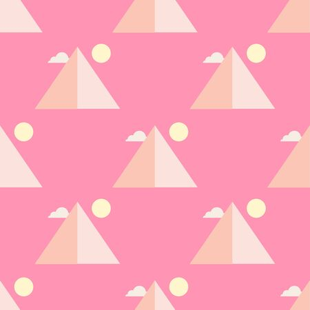 Egypt pyramids in flat style, vector seamless pattern Illustration
