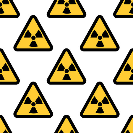 uranium: Radiation warning sign seamless pattern isolated on white background. Flat design Vector Illustration Illustration