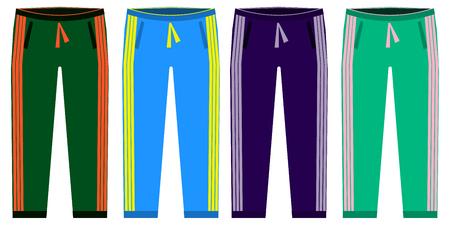 Arten von Sweatpants eingestellt. einfache symbole von sprt hosen. Grün, Rot, Blau, Purpur lokalisiert auf weißem Hintergrund. Flaches Design-Vektor-Illustration