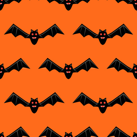 Seamless pattern with bats. Vector bats isolated on orange background. Silhouette of flying bat. Pattern for Hallowmas or Halloween. Mood of magic and sorcery. Illustration