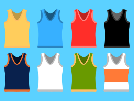 Tank Top set simple icons. Yellow, red, blue, white pullovers isolated on blue background. Flat design Vector Illustration eps10 Illustration