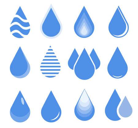 water drop set, blue drop buttons.  Illustration
