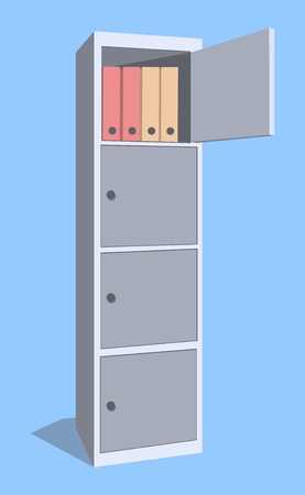 Steel cabinet for locker office. The security storage detailed single object realistic design vector illustration.