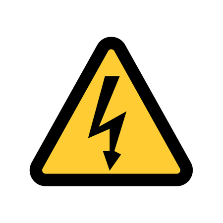 high voltage symbol: High Voltage Sign. Danger symbol. Black arrow isolated in yellow triangle on white background. Warning icon.  illustration