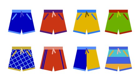 Swim shorts collection. swimming trunks set icon Flat design  Illustration