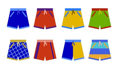 Zwemshorts collectie. zwembroek set pictogram Platte ontwerp illustratie