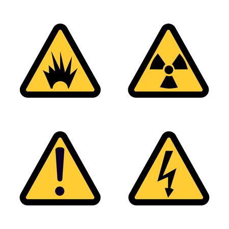Hazard warning sign icon set on white background Flat design  Illustration Stock Photo
