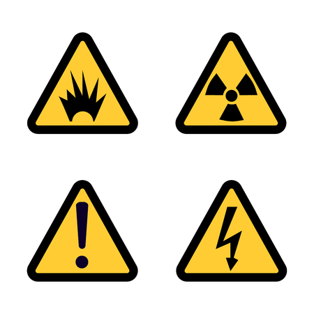 voltage sign: Hazard warning sign icon set on white background Flat design  Illustration Stock Photo