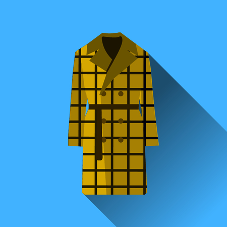 Icon fashion clothes long coat with long shadow isolated on blue background Flat design Vector Illustration EPS Illustration