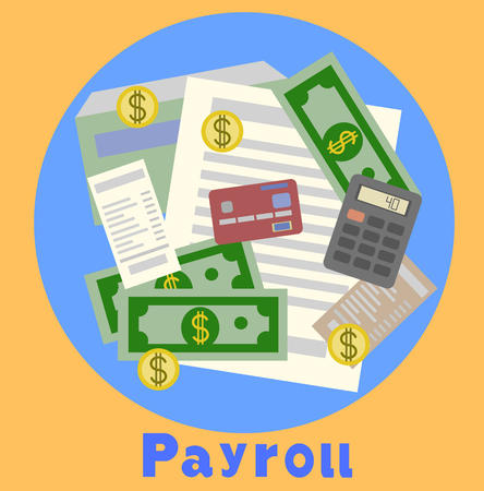 Payroll, invoice sheet flat illustration. Payroll template, calculate salary, budget concepts. Top view. Modern flat design for web banners, web sites, infographics. Creative  illustration