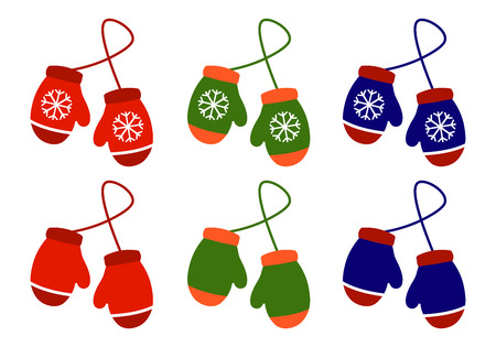 Vector set illustration pair of knitted christmas mittens on white background. Çizim