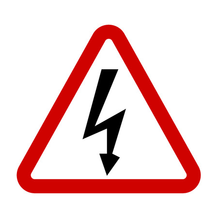 High Voltage Sign. Danger symbol. Black arrow isolated in red triangle on white background. Warning icon.  illustration