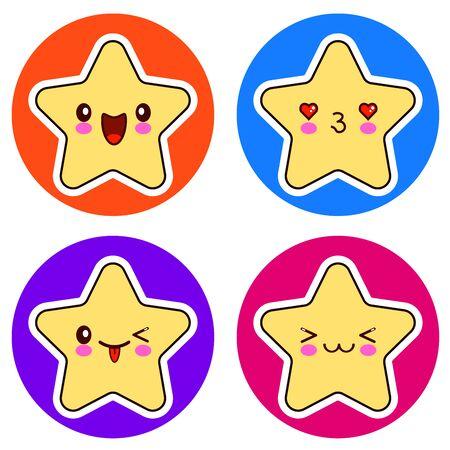 Set of cute stars on different circle.  illustration