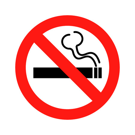 Nr - rokend tekenpictogram op witte illustratie als achtergrond Stockfoto