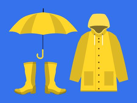 Raincoat, rubber boots, open umbrella, set of rainy season in flat on blue background design. Ilustração