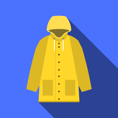 Yellow vintage raincoat icon in flat design with long shadow on blue background, EPS Stock Photo