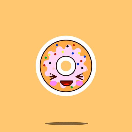 かわいいドーナツ漫画キャラクター幸せな笑顔かわいい顔料理フラット