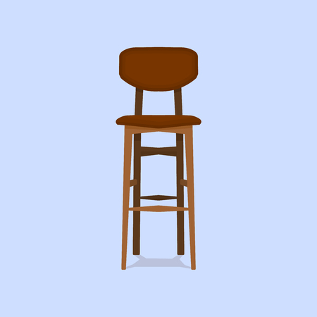 Wooden bar chair on blue background detailed single object realistic design vector illustration eps10