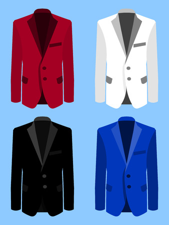 Man suit set on blue background. Business. Flat design, vector illustration Illustration