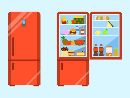 Vol met eten geopend en koelkast gesloten. Koelkast en fruit, vriezer en groente. Platte ontwerp illustratie Stockfoto - 90995993