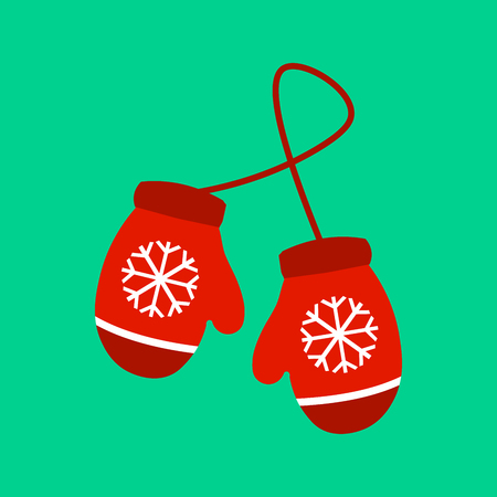 illustration illustration pair of knitted christmas mittens on green background mitten icon christmas greeting card with mittens - Christmas Mittens