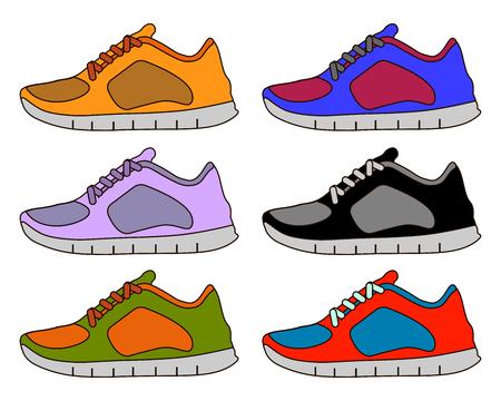 Sneaker Sport Shoe Color Flat Icon Symbol Set Collection. Flat design  Illustration