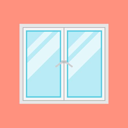 전통적인 흰색 창 프레임 오렌지 배경에 고립. 아키텍처 및 인테리어 디자인의 평면 벡터 창 요소를 마감했다.