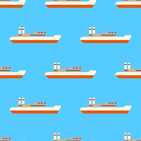 Seamless sea pattern with sailing ships isolated on blue background. Flat design  Illustration Stock Photo