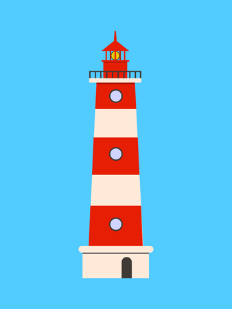 Lighthouse flat icon on blue background. Flat design Vector illustration EPS10  イラスト・ベクター素材
