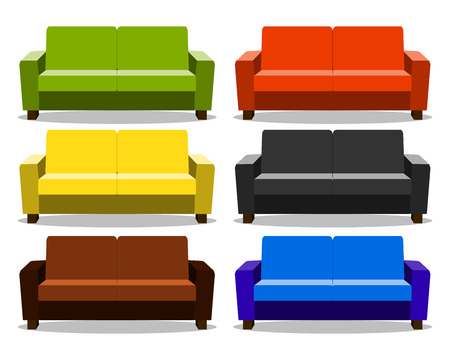interior with realistic set sofa, lounge, settee couch, ottoman icon. couch realistic cartoon isolated on white background. Objects for interior design  Illustration Stock Photo