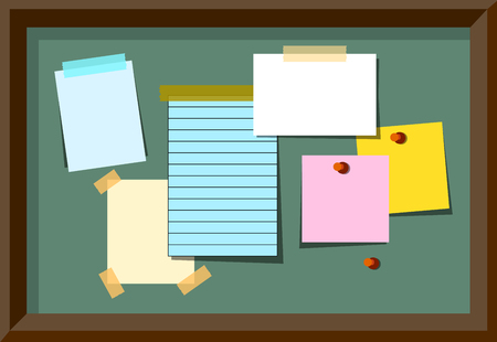 Message board With Blank Notes and Stickers.  Illustration EPS Stock Photo