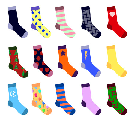 Colorful Socks Setisolated on white background. With picture. Flat design  Illustration EPS Stock Photo