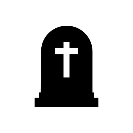 Halloween ernstig pictogram silhouet. Grafsteen vectorillustratie. Rip grafsteen platte pictogram.