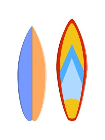 Color surfboard set. Sea extreme sport pattern. Vector illustration.
