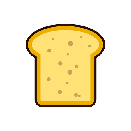 Bread toast slice icon breakfast, protein rich dairy product flat vector illustration.