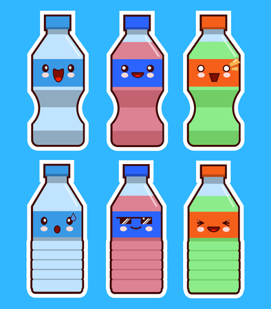 Funny bottle of water and soda kawaii face set. illustration.