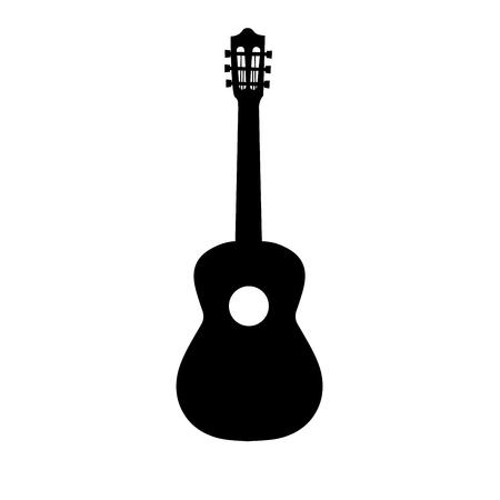 Guitar icon vector, Acoustic musical instrument sign Isolated on white background. Trendy Flat style for graphic design, icon, Web site, social media, UI, mobile app.