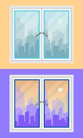 Window with city view during morning and evening