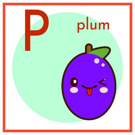 cartoon fruits alphabet q p est pour la prune de plat . illustration vectorielle