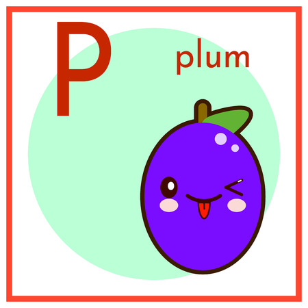 Cartoon fruit alphabet flashcard. P is for plum flat vector illustration.